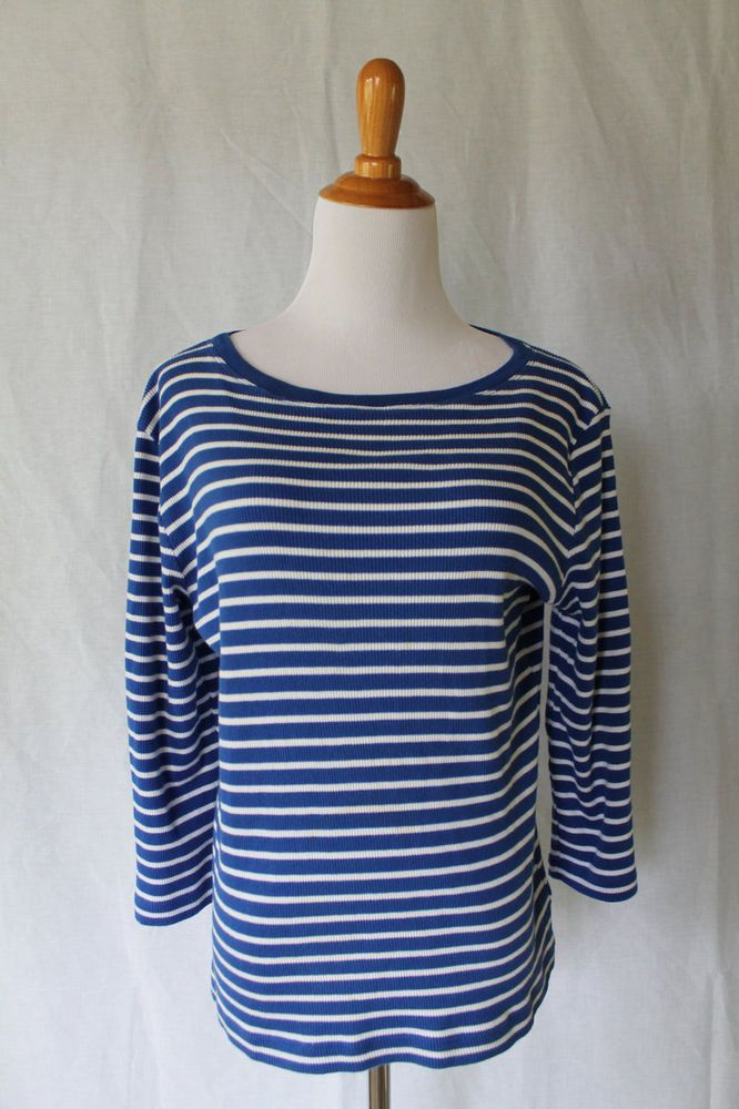 Ralph Lauren Breton Blue Striped Cotton Jersey Nautical Top Sz Large NWOT #RalphLauren #KnitTop #Casual
