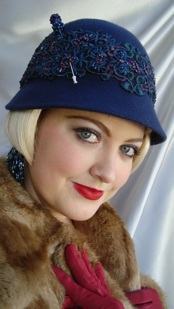 Navy+Blue+Wool+1920s+Cloche+Hat+Navy+Blue+and+by+LadyKatherineHats,+$59.00