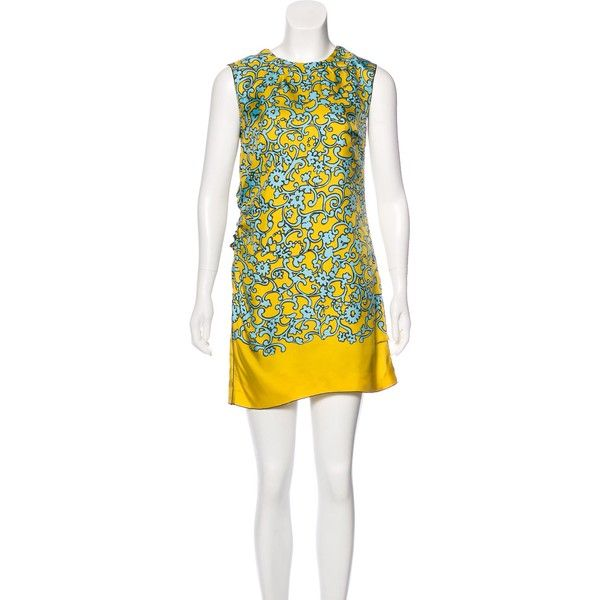 Pre-owned Marc Jacobs Silk Printed Dress (12.695 RUB) ❤ liked on Polyvore featuring dresses, yellow, multi-color dresses, yellow dress, sleeveless dress, silk dress and multi coloured dress