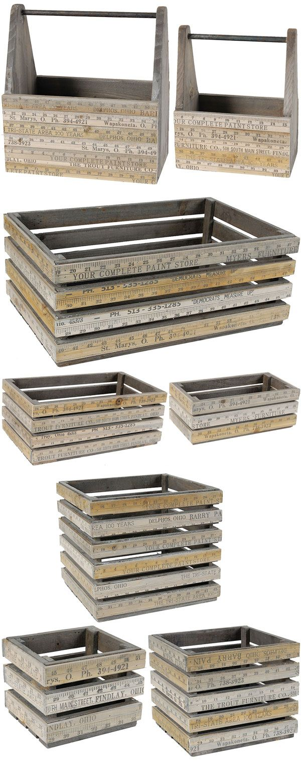 "Measuring Stick Baskets (S/2) & Planters (S/3) :: $ 45 to 69 | OneKingsLane.com :: Chinese fir wood [Set of 2 Baskets: Lg 14.4"" x 8.5"" x 15.4"" & Sm 10.5"" x 6.3"" x 12.5"", Click] [S/3 Rectangular planters: Lg 18.9"" x 12.2"" x 7.5""; Med 16"" x 9.3"" x 6.3""; Sm 12"" x 6.3"" x 4.3""; www.onekingslane.com/product/17849/1088140] [S/3 Square Planters: Lg 13"" x 12.2"" x 11.4""; Med 10"" x 9.3"" x 8.5""; Sm 7"" x 6.3"" x 5.5""; www.onekingslane.com/product/17849/1088142] 