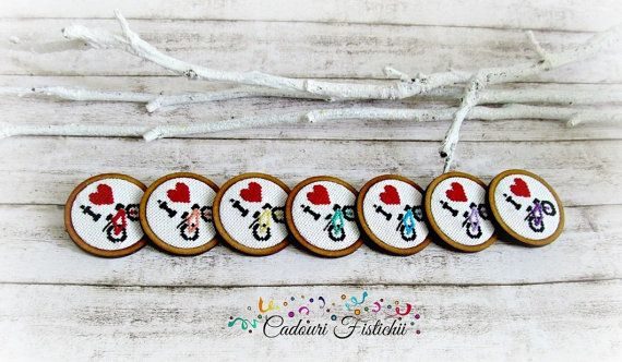 Cross stitch  Wooden  Handmade  Bike  Brooch by CadouriFistichii