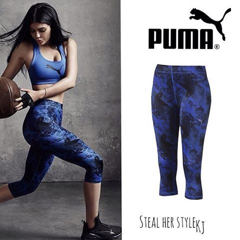@KylieJenner | @Puma Campaign |   Kylie wearing :    #Puma All Eyes on Me 3/4 Tights in Dazzling Blue / $45    #kyliejenner #kyliejennerstyle #kuwtk #kyga #tyga #pablo#stealherstylekj #stealherstyle