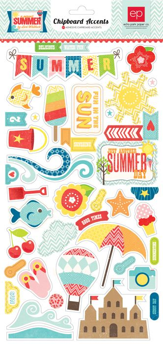 Echo Park - A Perfect Summer Collection - Chipboard Stickers