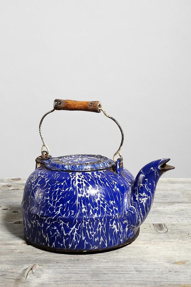 Vintage Agate Enamelware Tea Kettle #urbanoutfitters