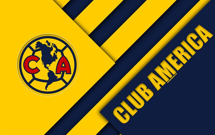 Download wallpapers Club America, 4k, Mexican Football Club, material design, logo, blue yellow abstraction, Mexico City, Mexico, Primera Division, Liga MX, America FC