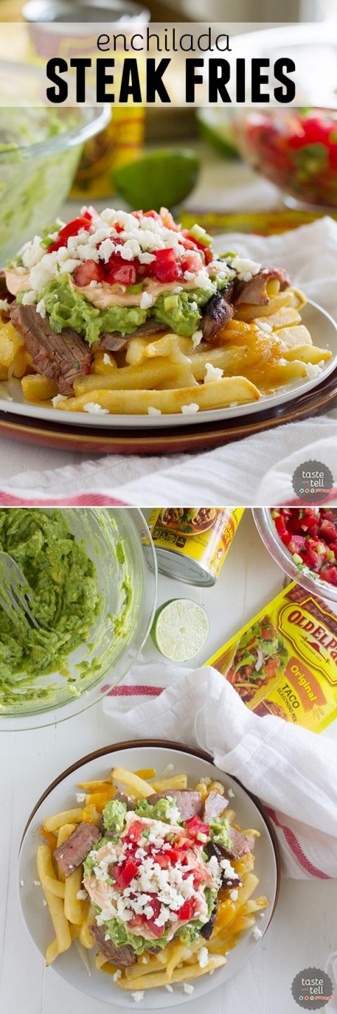Truly indulgent, these Enchilada Steak Fries are an adaptation of the popular San Diego treat - Carne Asada Fries.  French fries get topped with steak, guacamole, sour cream and pico de gallo for the perfect southern California dish.