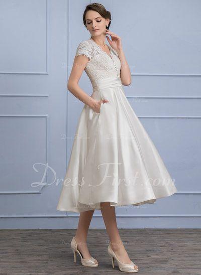 2bee5faf21 A-Line/Princess V-neck Tea-Length Satin Wedding Dress With Ruffle Pockets  (002107827) - DressFirst