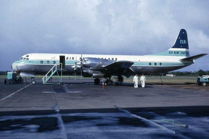Air New Zealand/TEAL Lockheed Electra ZK-CLX, Whenuapai Airport, 1964