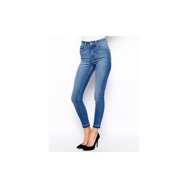 ASOS Ridley High Waist Ultra Skinny Ankle Grazer Jeans in Busted Mid... ($31) ❤ liked on Polyvore featuring jeans, high rise jeans, stretch denim jeans, stretch jeans, high-waisted jeans and high waisted blue jeans