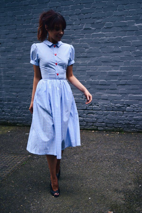 Lifestyle and Fashion Blogger Lorna Luxe wears Tara Starlet Dottie Dress in Blue Gingham for a day of filming and photoshoots. Cute fifties style midi dress, vintage inspired preppy.