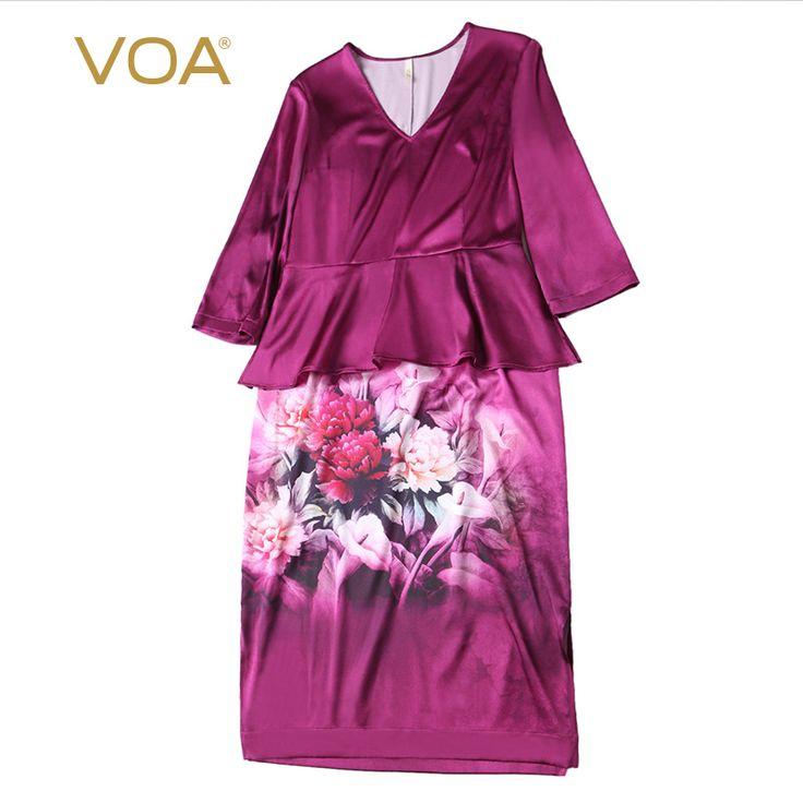 Encontrar Más Vestidos Información acerca de Estilo chino púrpura de satén de seda de impresión vestidos de manga larga v cuello recto hasta la rodilla vestido de volantes vestidos A3713, alta calidad Vestidos de VOA Flagship Shop en Aliexpress.com