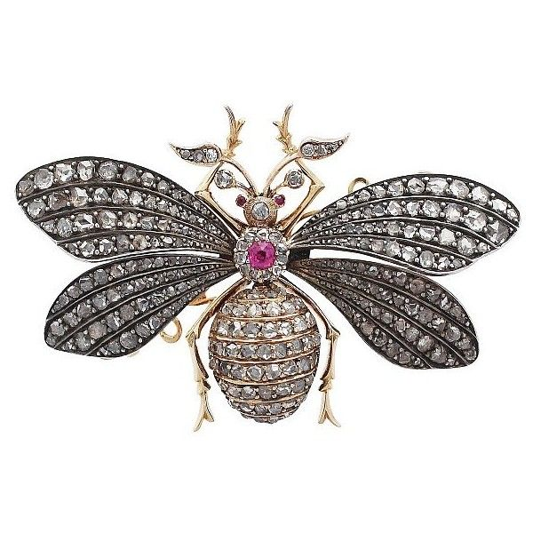 3.11 ct Diamond and Synthetic Ruby, 15 ct Yellow Gold Insect Brooch... (£6,950) ❤ liked on Polyvore featuring jewelry, brooches, victorian brooch, victorian jewelry, gold jewellery, gold diamond jewelry and antique victorian brooches