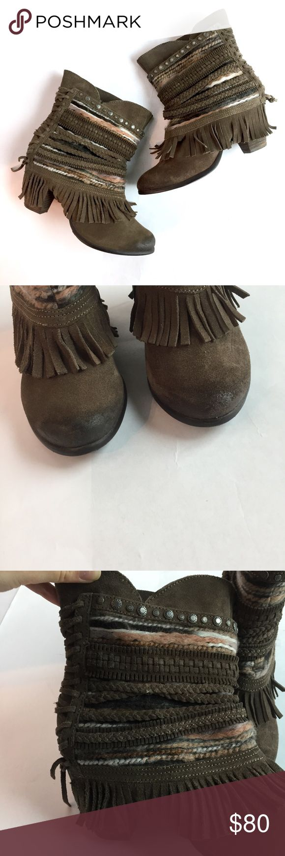 NAUGHTY MONKEY Fringe Braided Ankle Boots \\ Sz 9 Perfect for fall! Suede ankle boots by Naughty Monkey. Awesome Fringe and Braided details. Size 9. naughty monkey Shoes Ankle Boots & Booties