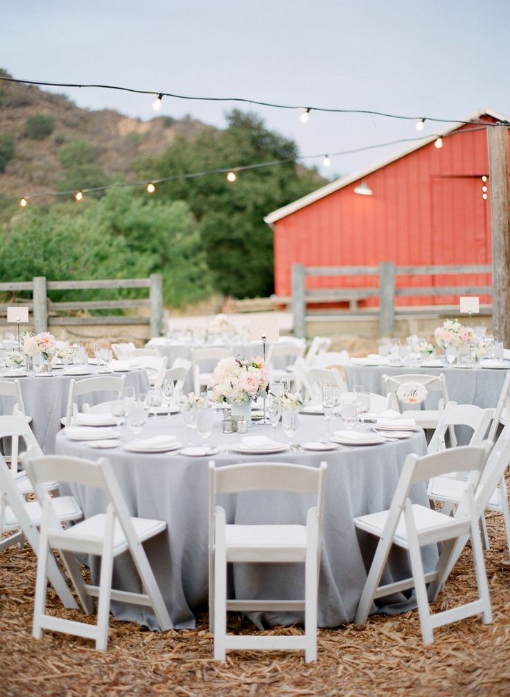 LOVE the soft grey table cloths. Read more - http://www.stylemepretty.com/2013/11/06/ojai-wedding-from-lacie-hansen-photography/
