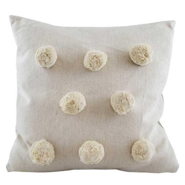 Cream Pom Pom Cushion