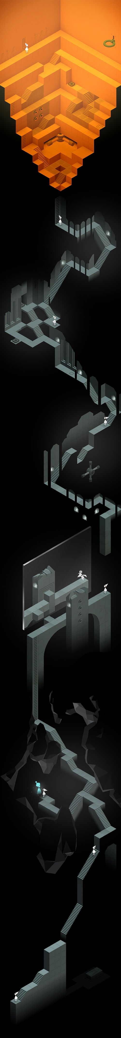 Monument Valley game - The Descent (Chapter IX), full vertical picture with Ida (the princess) and monument stairs. 피카소 일대기를 단계별로 그릴수 있는 구조