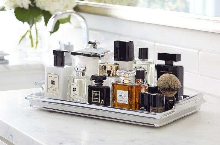 Innovative perfume tray in Bathroom Transitional with Paris Themed Bathroom next to Athens Silver Cream alongside Silver Tray Ideas and Martha Stewart Bathroom Vanity