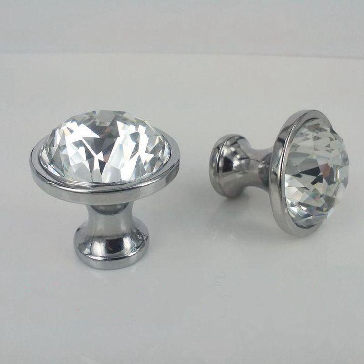 glass crystal dresser door handles knobs rhinestone chrome silver drawer cabinet knobs pulls 25mm 30mm modern fashion glass knob