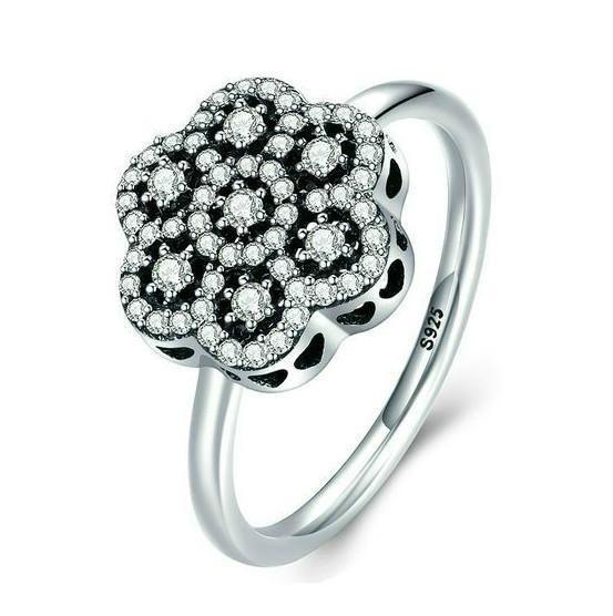 Rings   Sterling Silver Pave Zircon Flower Rings