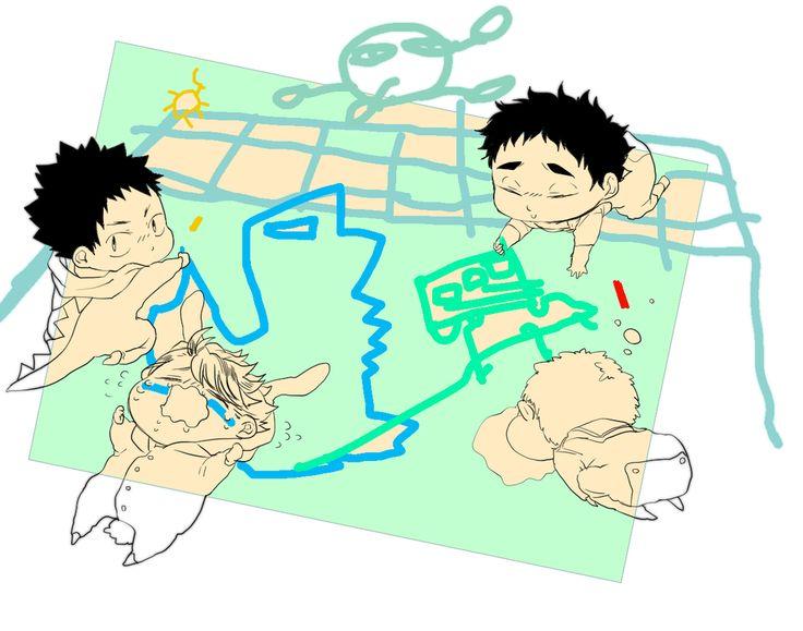 iwaizumi, oikawa, matsukawa, hanamaki, kindergarten, http://www.pixiv.net/member_illust.php?mode=manga&illust_id=50352247