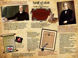 """""""Tariff of 1828"""" was a protective tariff passed by the Congress of the United States on May 19, 1828, designed to protect industry in the northern United States. It was labeled the Tariff of Abominations by its southern detractors because of the effects it had on the antebellum Southern economy. #Glogster #TariffOf1828"""