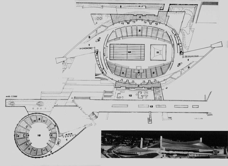 Site plan and plan of the two Tokyo stadiums: Kenzo Tange, architect with engineers Yoshikatsu Tsuboi and Uichi Inoue.