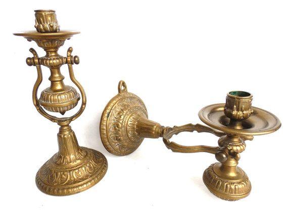 Set di 2 nautico Applique - Applique parete di coppia antico ottone nautico Sconce - supporto di candela - candela - nave Applique - Gimble. N. 6A6GC7BKD