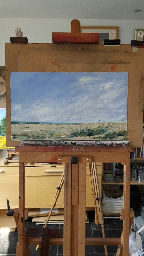 At low tide, acrylic paint on board, 30 x 12 ins.