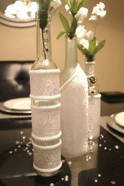 Set 3 Decorated Wine Bottle Centerpiece White Wine