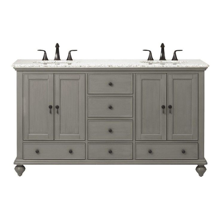 Home Decorators Collection Newport 61 in. W x 21.5 in. D Double Vanity in Pewter with Granite Vanity Top in Grey with White Basin