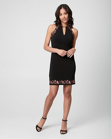Embroidered Knit Halter Tunic Dress - Make an artful statement with this embroidered tunic dress.