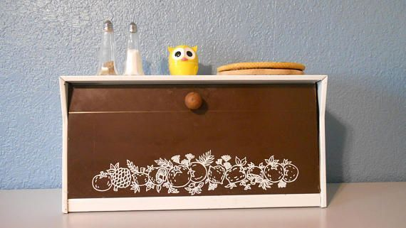 Vintage bread box Kitchen bread box 1960's kitchen