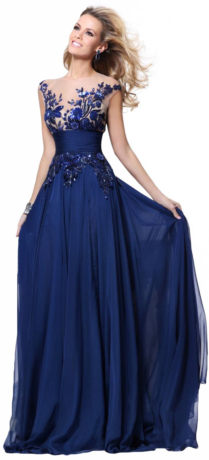 Delicate Royal Blue Lace Evening Gown, Beautiful Top Detail with Magnificent Sexy Back, 90$ on Amazon.
