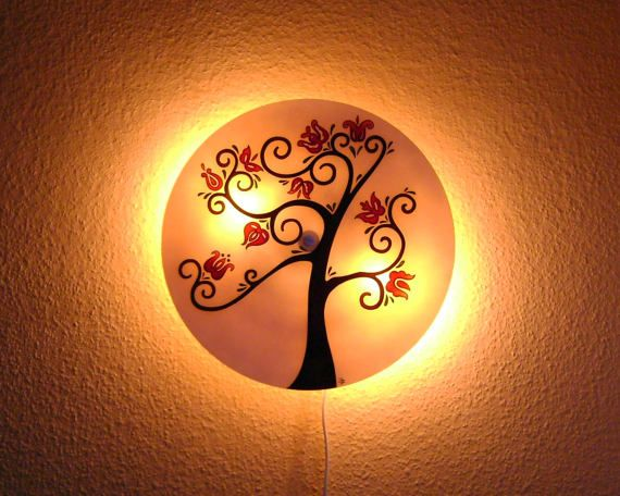Large Wall Lamp Tree of Life Glass Painted Unique hand-made