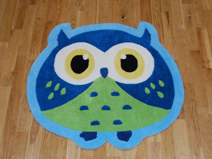 Blue Owl Children s Rug 80cm x 80cm (2'6 x 2'6 ft)