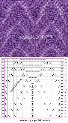 узор спицами 532| каталог вязаных спицами узоров