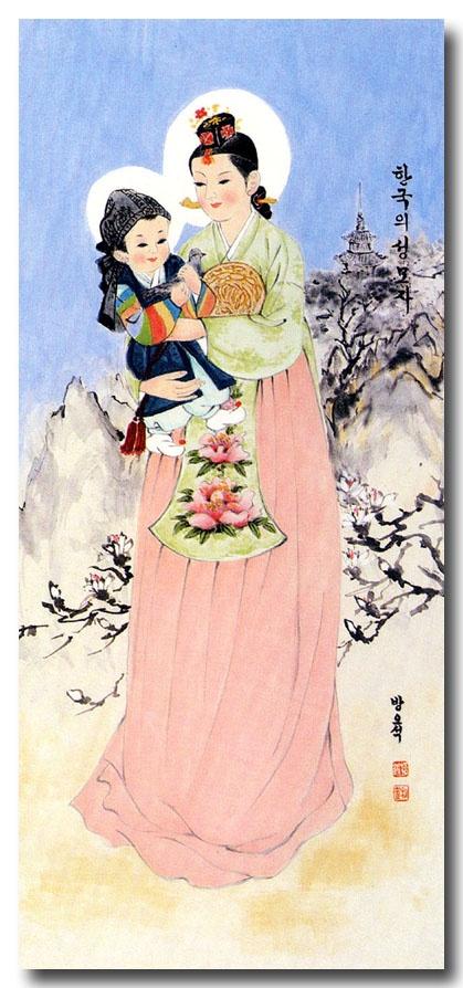 Korean Madonna (I love baby Jesus in a hanbok!)