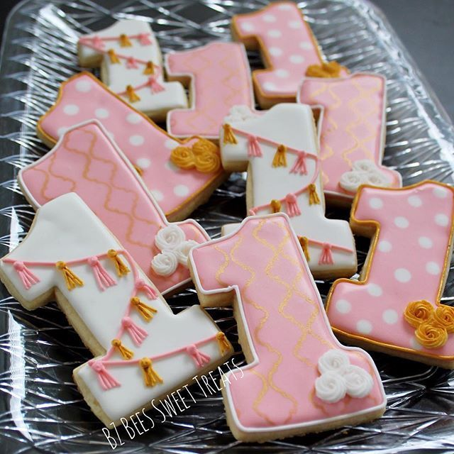 First Birthday Cookies! Pretty in Pink Party! https://www.etsy.com/listing/265157225/baby-girl-clothes-baby-girl-gift-baby?ref=shop_home_active_28