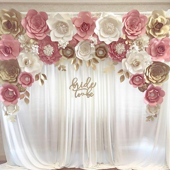 "Blush gold paper flower backdrop for engagement, bridal shower ""bride to be"" sig… 3e339cf5813d75d403e6d5640177c7df"