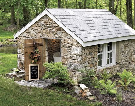 Love stone sheds garden houses pinterest gardens for Stone garden shed designs