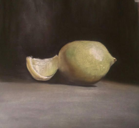 Lemon on the table Original Artwork by Soft Pastel by JaneMStudio
