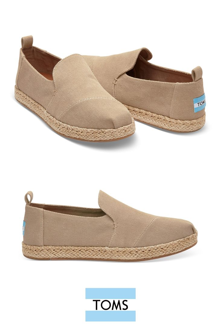 Desert Taupe Washed Canvas Women's Deconstructed Alpargata Espadrilles. Vegan washed canvas, minimalist structure and espadrille sole make these TOMS the ultimate casual slip-on.