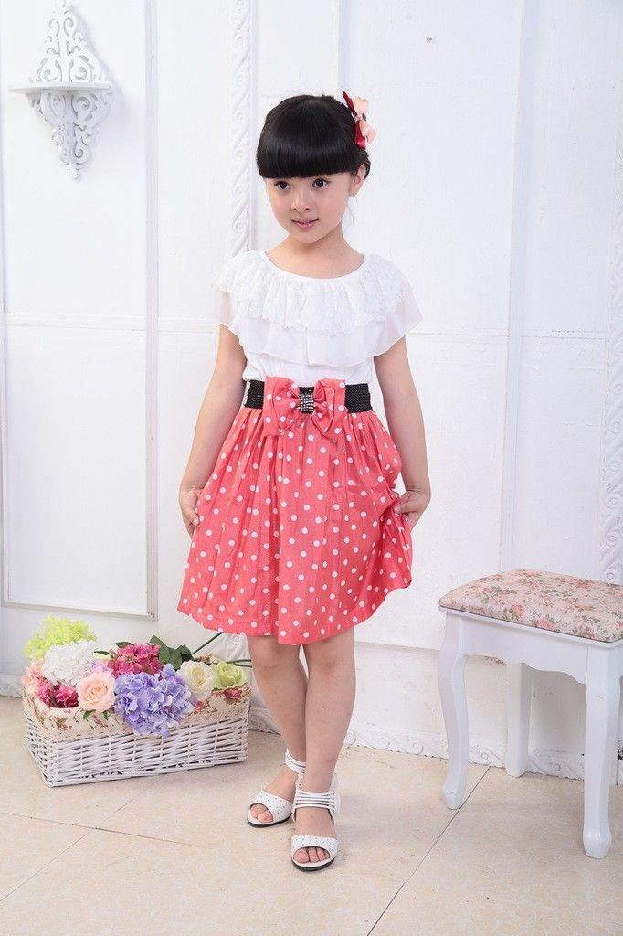 Girls kid dot lace colorful point fahion confortable short Princess Dress suit for  6 7 8 9 10 11 12 13 14  years old girl child