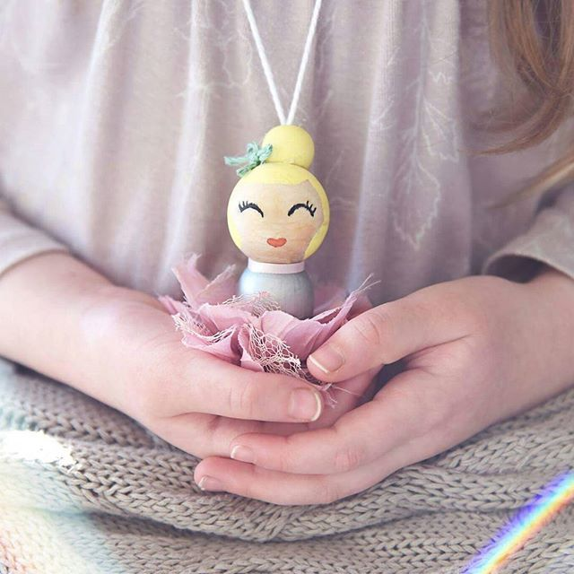 I think we've found a new hobby making #pegdoll necklaces! Meet Penelope lol 💕❤