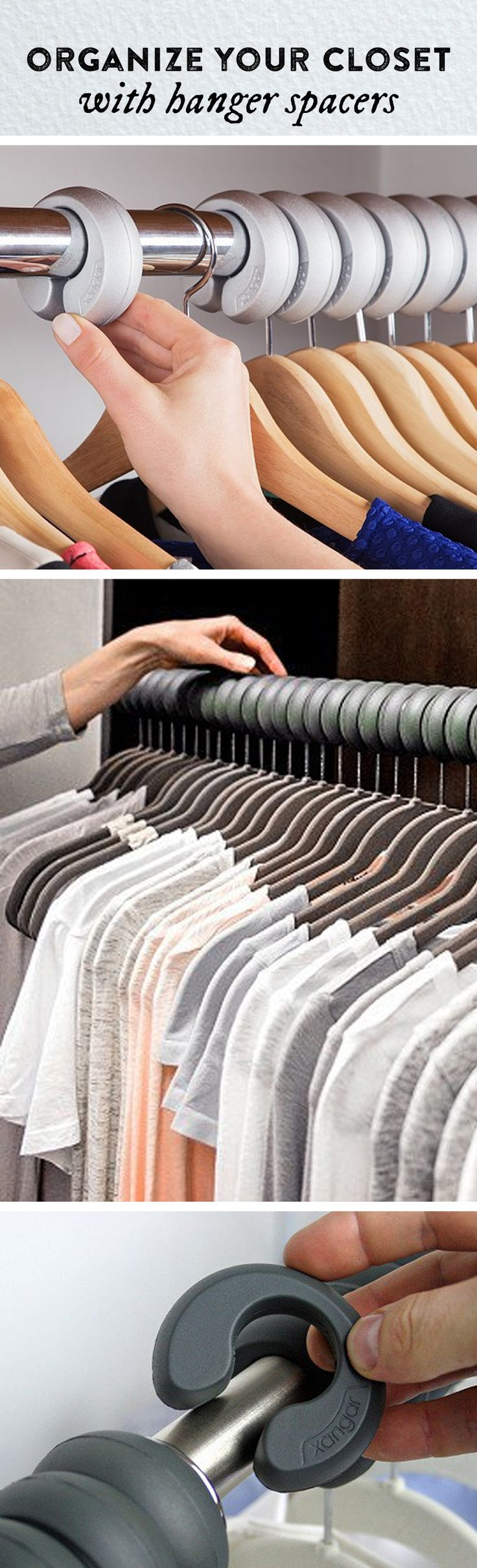 See how freed up your closet can be. These hanger spacers fit over your clothing rod, keeping clothing evenly spaced, unwrinkled, and organized.