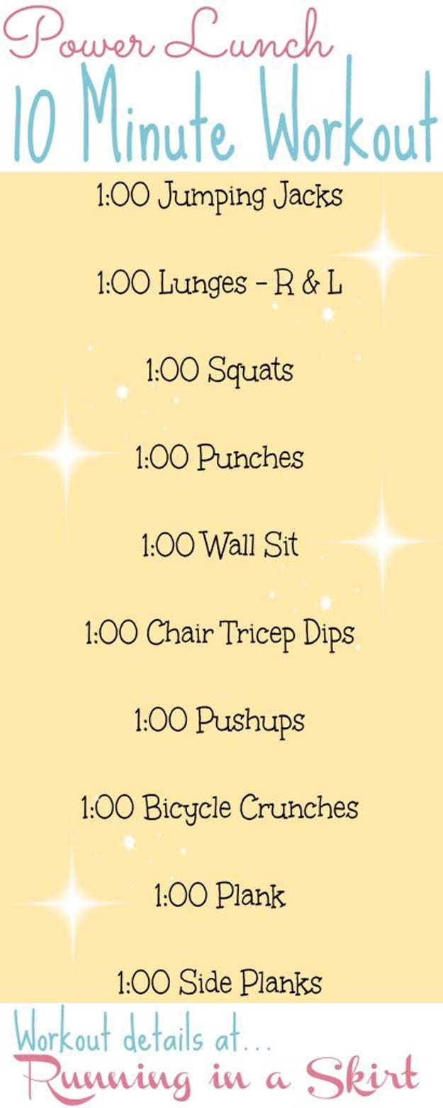 Quick Workouts You Can Do on Your Lunch Break - Power Lunch 10 Minutes Workout - Awesome Full Body Workouts You Can Do Right At Home or On Your Lunch Break- Cardio Routine for Beginners, Abs Exercises You Can Bang Out Before Shower - You Don't Need to Hit