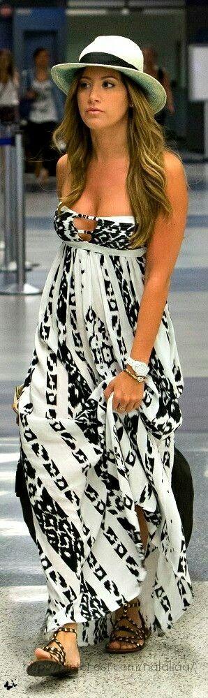 Maxi vestido negro y blanco