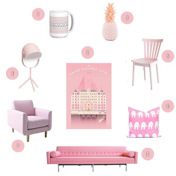 wishlist rose poudré #rose #pink #déco #chaise #mug #lampe #fauteuil #sofa