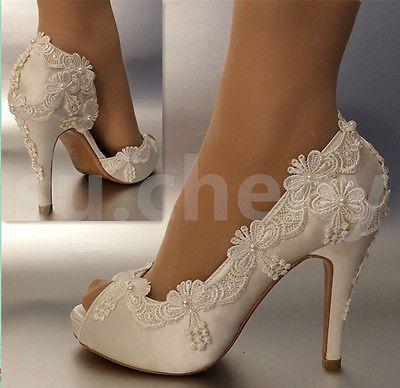 "3"" 4"" Salto Cetim Branco Marfim Renda Pérolas aberto Toe Sapatos De Casamento Noiva Tamanho 5-11"