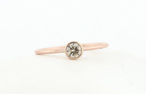 Round Brilliant Cut Diamond Engagement Ring, Champagne Diamond Engagement Ring Set In Rose Gold Bezel Setting, Champagne Diamond Ring